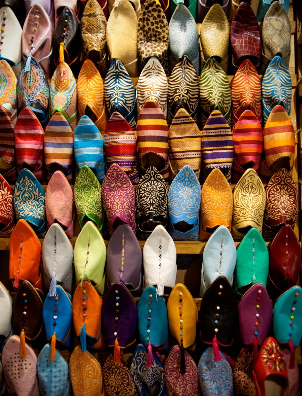 Colorful shoes in Marrakech, #Morocco // #Travel