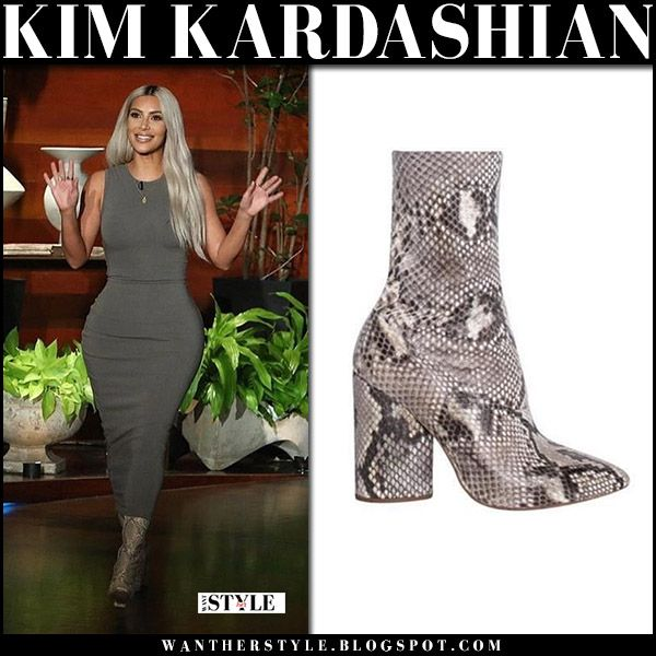 Kim Kardashian in khaki dress and snake skin ankle boots The Ellen Show