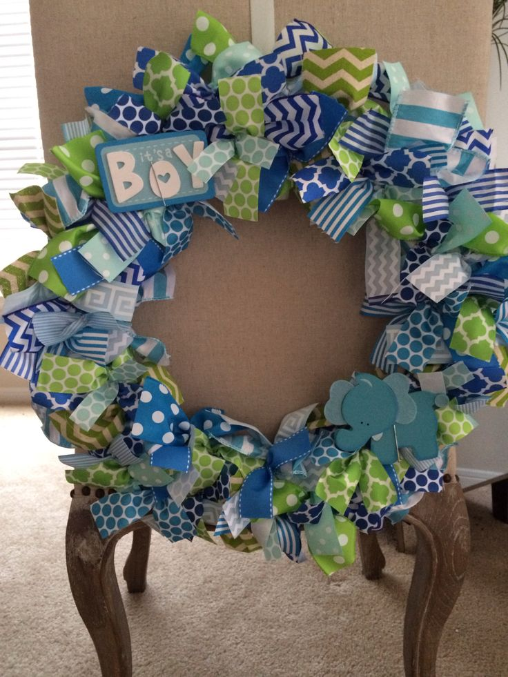 It's a Boy! Grosgrain Ribbon wreath to hang on hospital door.