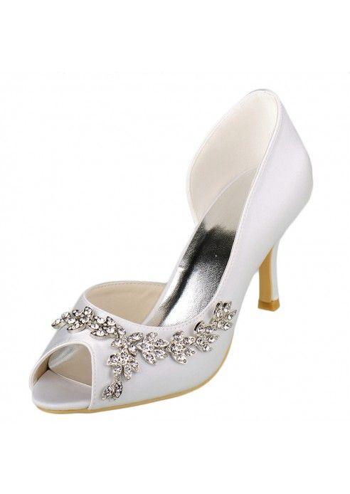 Diamante De Satin Noir Légèrement Bout Pointu Chaussures De Mariage i1VeTT