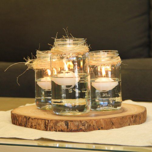 Rustic Mason Jar Centerpiece with Floating Candles - Beau-coup.com