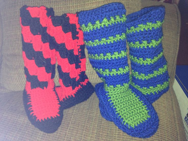 Crocheted bootie slippers.