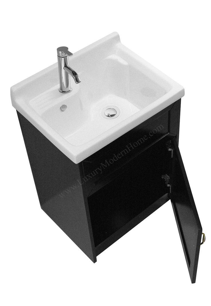 "modern laundry room sinks | ALEXANDER - 24"" Black Laundry Utility Sink | ALEXANDER 18 ..."