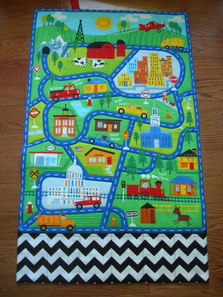 Boy or Girl's Town Fold Up Play Mat with Storage Pockets for Toys.  Can be personalized.