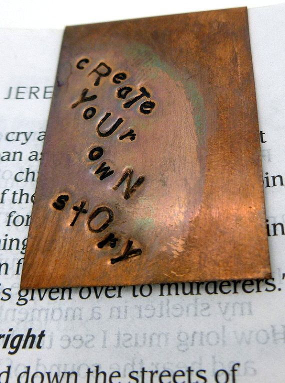Hand Stamped and Antiqued Copper Bookmark  Create by SnappinStudio, $22.00