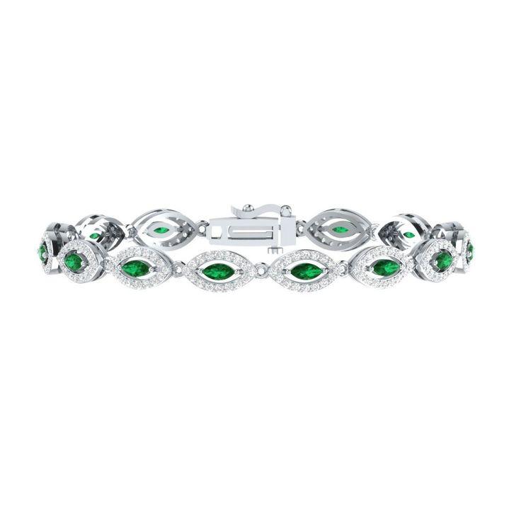 "4.50 Ct Green Emerald W/ White Sapphire Sterling Silver Link Tennis Bracelet 7"" #braceletrealgold #Tennis"
