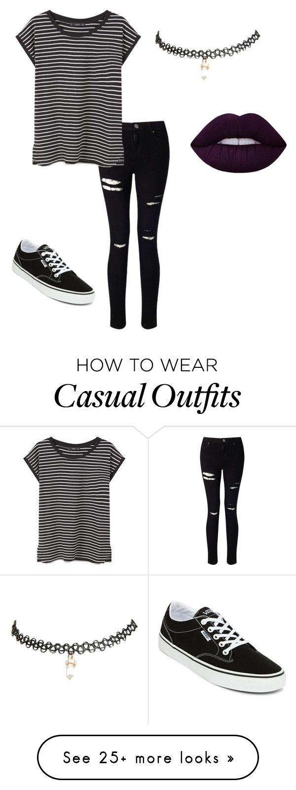 """Casual"" by glowsick on Polyvore featuring Miss Selfridge, MANGO, Vans, Wet Seal and Lime Crime"