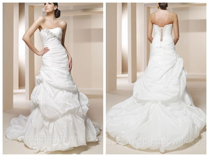 BEADED TAFFETA MERMAID BRIDAL GOWN WITH LOOSELY PLEATED BODICE