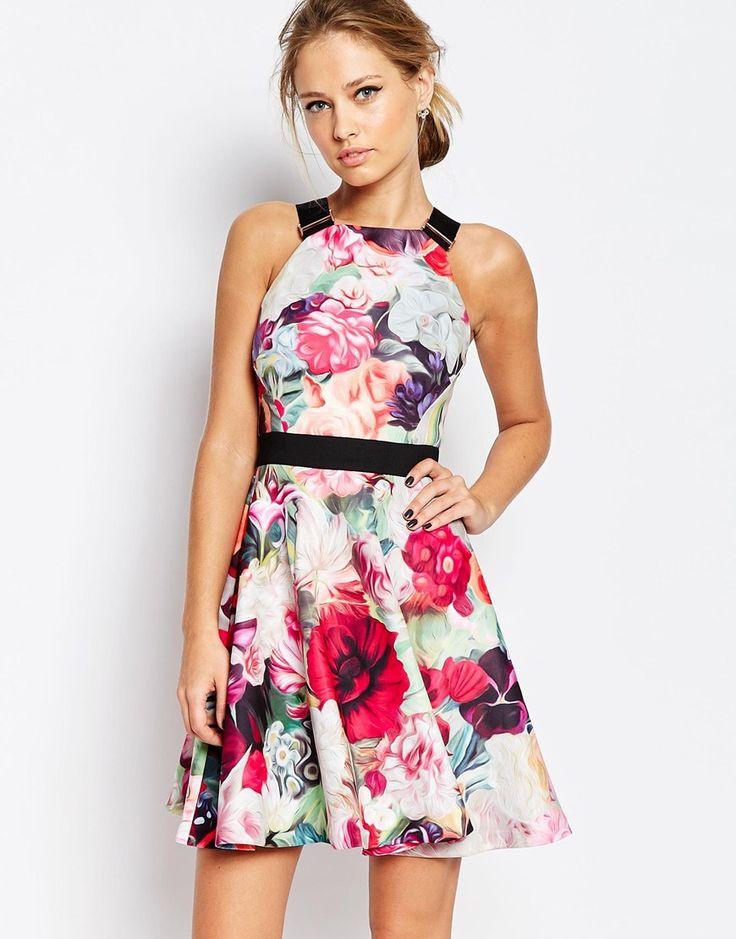 Shop Ted Baker Samra Floral Print Dress with Buckle Straps at ASOS.