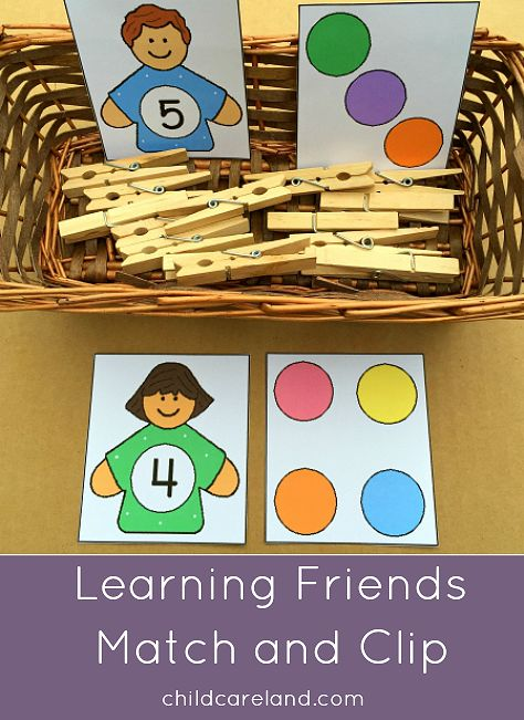 Learning friends match and clip for math and fine motor development.