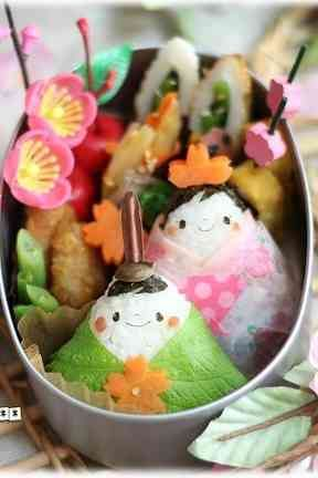Hina Matsuri Bento for the Doll Festival. Families with girls wish their daughters a successful and happy life, Japan (3 March)