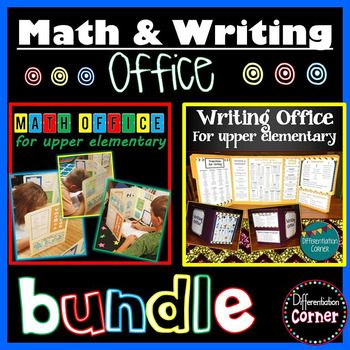 Math & Writing Office Resource pages for upper elementarywide variety of levels- great for Special EducationThe writing office serves as a privacy folder as well as writing anchor chart resources for students to use on written assignments and other class work.