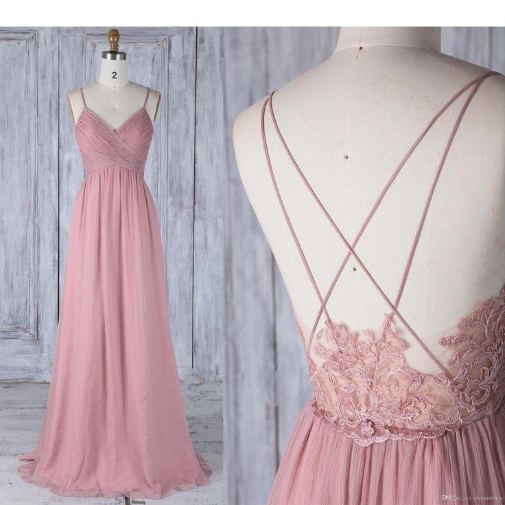Bridesmaid Dress Dusty Rose Chiffon Wedding Dress,Spaghetti Straps V Neck Long Prom Dress,Illusion Lace Low Back A-line Evening Dress