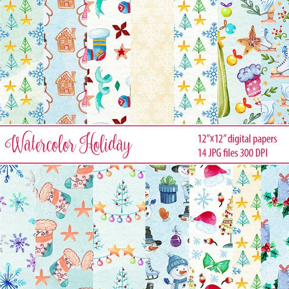 Holiday Paper Pack Christmas Winter Digital Paper by DigiPPP