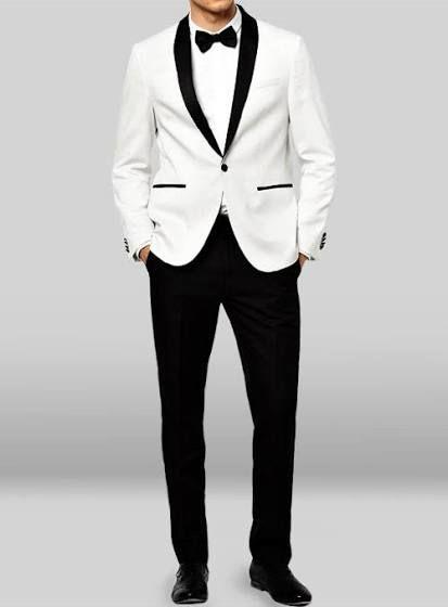 white tux with black trim