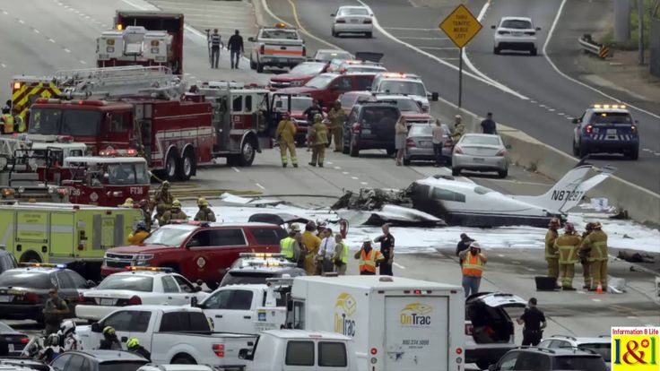 Small plane crashes on 405 Freeway near John Wayne Airport 2 injured