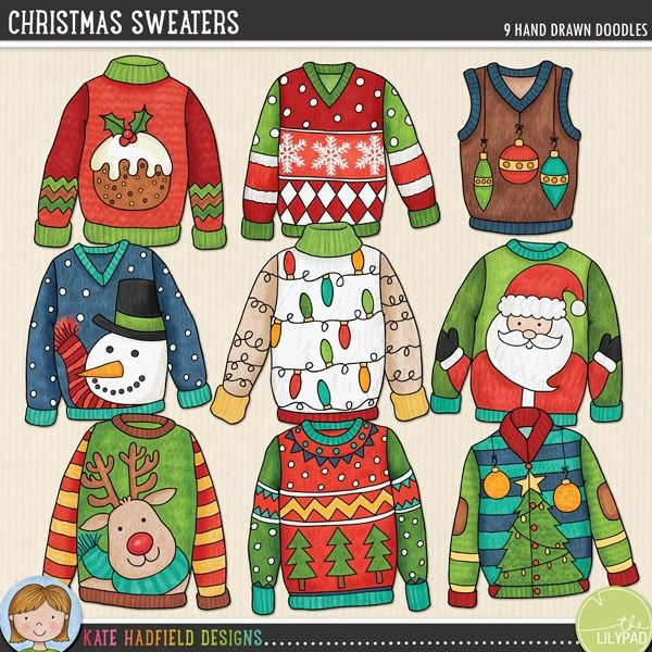 """Christmas Sweaters by Kate Hadfield A selection of colourful, characterful Christmas sweater doodles inspired by Christmas Jumper Day (and ugly Christmas sweater parties!!). Contains the following designs (average size: 3-4""""): baubles, lights, Christmas pudding, reindeer, Santa, snowflakes, snowman, Christmas tree and Christmas tree pattern. Coordinates with the 2014 Document Your December (DYD) collection."""