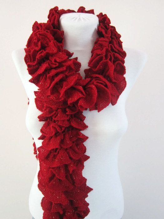 Knit Scarf Fall Fashion Frilly scarf Ruffled Scarf by scarfnurlu