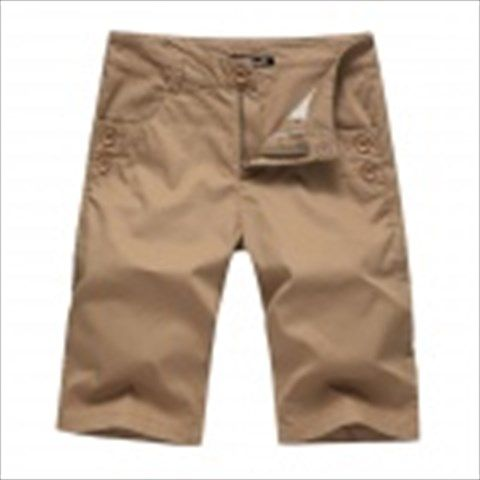 Men's Fashionable Casual Cozy Cotton Short Fifth Pants - Khaki (Size 34)  $24.55