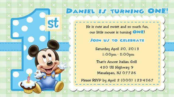 Baby Mickey 1st Birthday Invitations For Kids