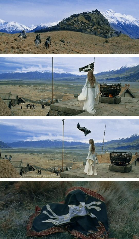 The Lord of the Rings: The Two Towers. This scene - the symbolism of that flag falling, it's like you can see Rohan breaking at its core: the king.