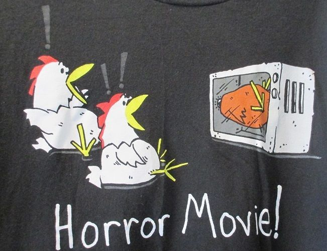 Click photo to see this in our eBay store.....  Horror Movie Graphic Black T-Shirt Funny Humor Chickens Oven Microwave Size XL  #DeltaProWeight #ShortSleeve #shirt  #t-shirt  #funny #joke #humor #chicken #horror #movie #black #
