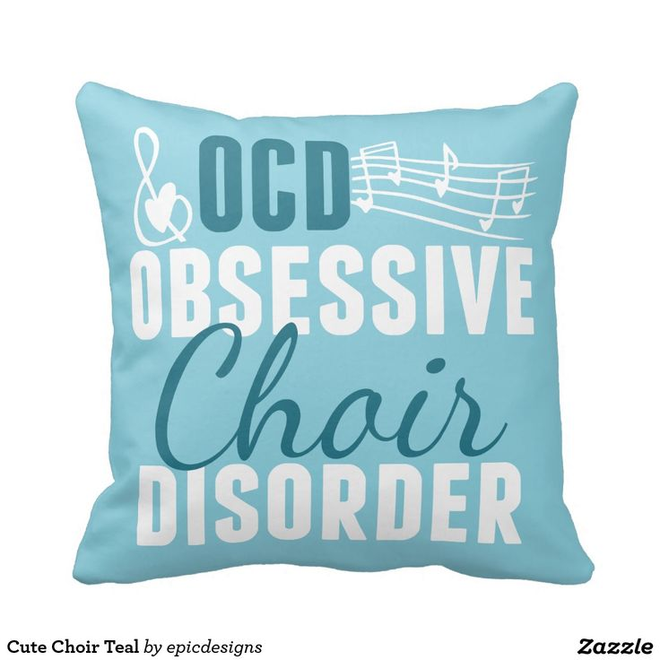Cute Choir Teal Throw Pillow for a chorus director Christmas gift.