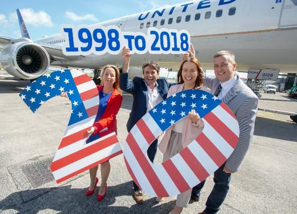 United Airlines Celebrates 20 Years Of Its Nonstop Service Between Shannon And New York Newark United Airlines Airlines Newark