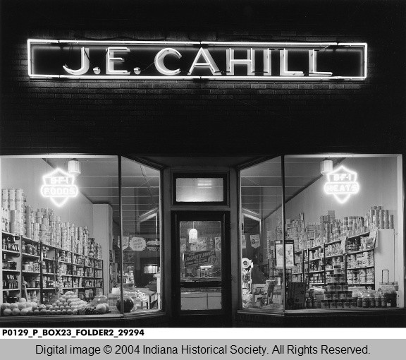Night View of Cahill Grocery Store, 1942 Terre Haute, Indiana at night