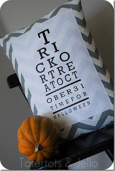 pillow: Charts Pillows, Halloween Eye, Tricks Or Treats, Cute Pillows, Cute Halloween, Halloween Pillows, Eye Charts, Chevron Halloween, Halloween Ideas