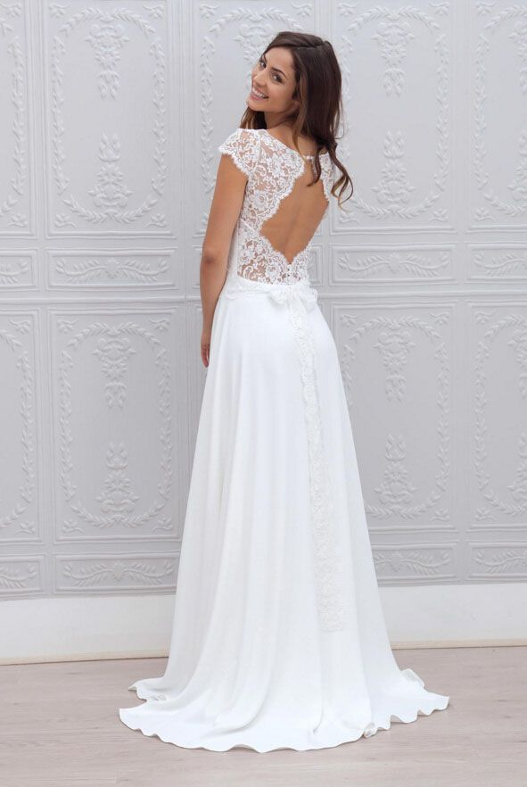 keyhole back embroidered cap sleeve ivory illusion a line long vintage chiffon wedding dress
