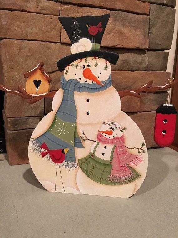 Muñeco de nieve con comedero para pájaros de por DawnsOakhillcrafts