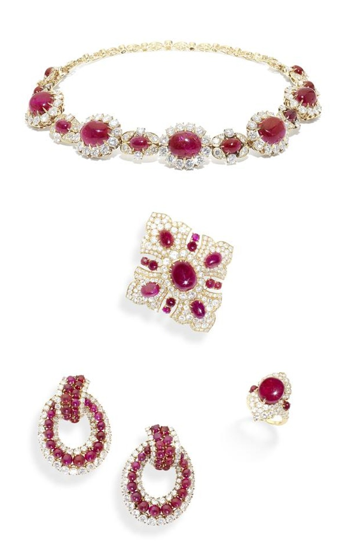 Van cleef amp arpels vca 18k yellow gold ruby cabochon amp diamond - A Ruby And Diamond Choker Bracelet Brooch Pendant Earring And Ring Suite By Van Cleef Arpels Circa The Choker Bracelet Set With Cabochon Ruby And