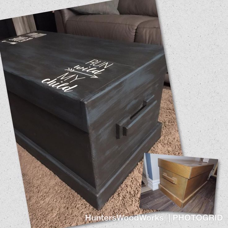 This trunk has been painted with Aubusson Blue Annie Sloan Chalk Paint ™ then dry brushed with Graphite Annie Sloan Chalk Paint ™. Once it is wiped with a wet rag, the Graphite will lift to give the piece a wash effect. This truck is used for toy storage and a coffee table.