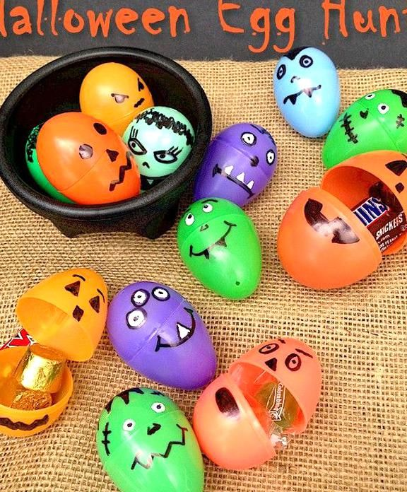 2020 Halloween Ideas Plastic Halloween party games for kids   Upcycle plastic Easter Eggs for a