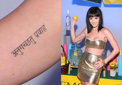 """Go with the flow"" in Sanskrit-Katy Perry tattoo"