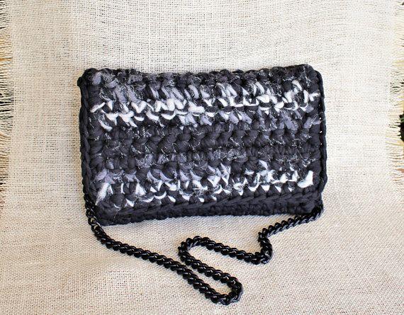 Black shoulder bag Black and white crochet clutch Black