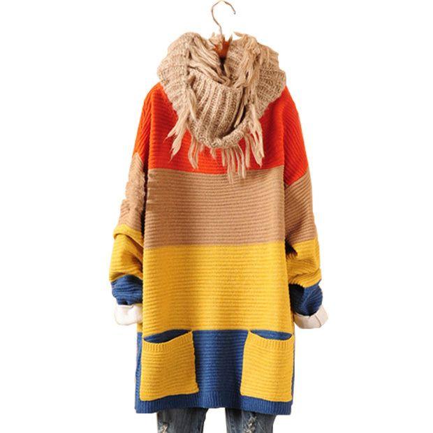 Свитера 2017 женщины мода новые прибытия осенью и зимой красочные широкий полосатый свободные рукава летучая мышь пуловеры женщин свитера 0324 купить на AliExpress