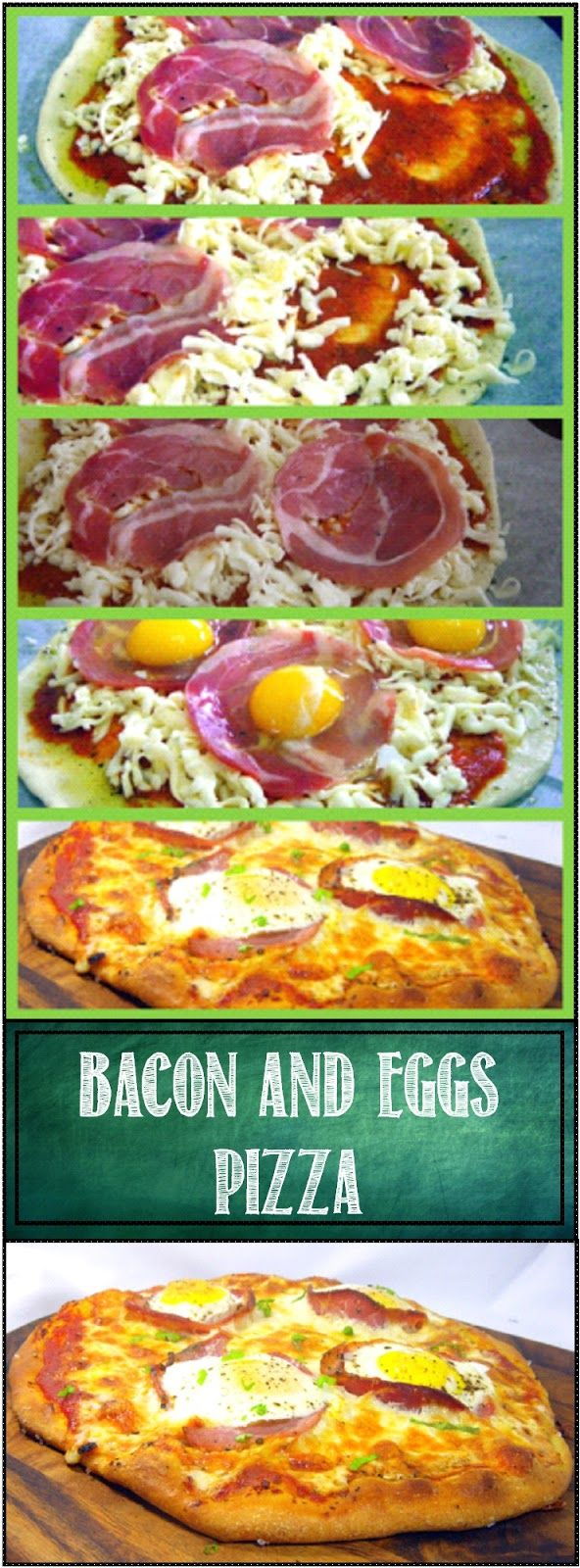 """Bacon and Egg Pizza (Uova e pancetta Pizza)... A classic Italian dish. """"Baked"""" Eggs, baked in a Bacon Cup,surrounded by cheese, sauce and pizza dough. Dramatic, beautiful presentation but more importantly a delicious combination for breakfast, dinner or anytime! One of the most popular pizzas I make. Scratch recipes for dough, sauce and DETAILED PHOTO how to INSTRUCTIONS"""