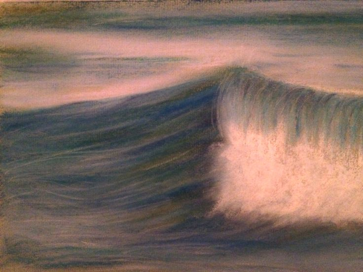 Wave. Soft pastel on paper 15x24 cm. By Sandy Rosenvinge Lundbye