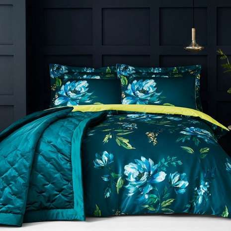 Charm Floral Teal Duvet Cover and Pillowcase Set | Dunelm