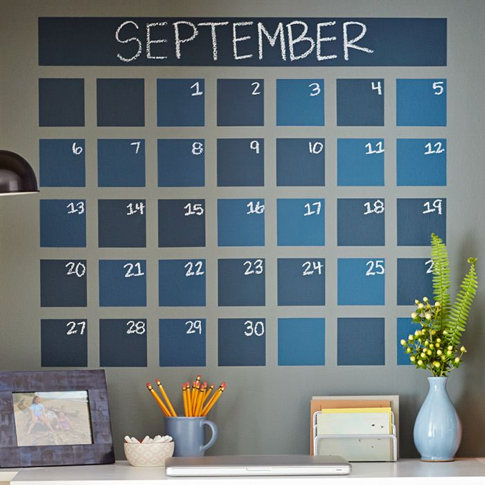 Add a handy calendar grid directly to any wall using chalkboard paint and tape. Keep your family on schedule by noting important dates and event reminders.