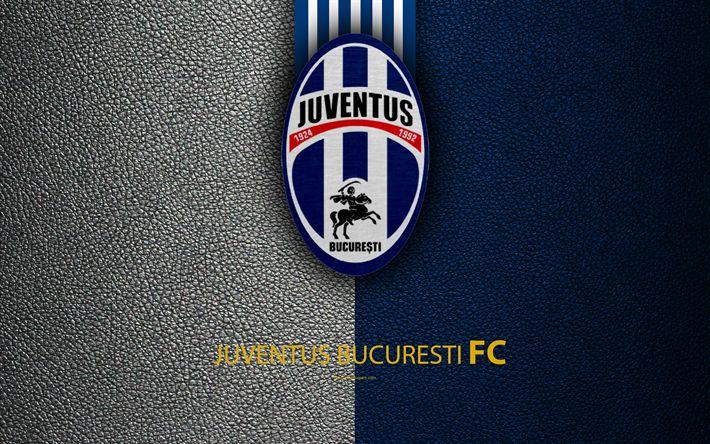 Download wallpapers FC Juventus Bucuresti, logo, leather texture, 4k, Romanian football club, Liga I, First League, Bucharest, Romania, football