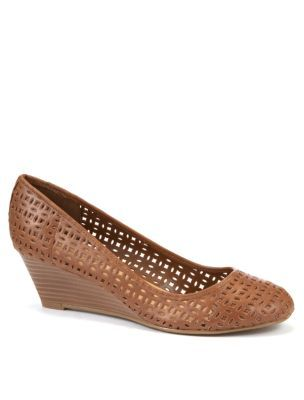 Tan Cut Out Low Wedge Shoes