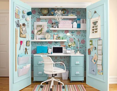 this would make an awesome sewing closet, only add 3' more next to desk to make floor to cealing drawers to store material and paterns... close the doors and no one see's what one sew's! I like this idea, closet can be changed for many different uses, this would be mine!
