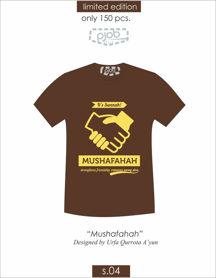 "Shaking hand with your brother erasing your sin. So, when you meet with your brother, give salam, and shake his hand..  Product specification: Theme : ""Mushafahah"" by Urfa Qurrota A'yun Code :S.04 Material: Cotton combed 24S Paint material : Plastisol Price : IDR 85 K Long sleeve and size >XL : plus IDR 7K Open Reseller for whole indoneisan region Special price for reseller : IDR 65 K/ pcs (minimum order 15 pcs/design) Contact : 0898 6126 303 (Liliek; Kakak Marketing)"