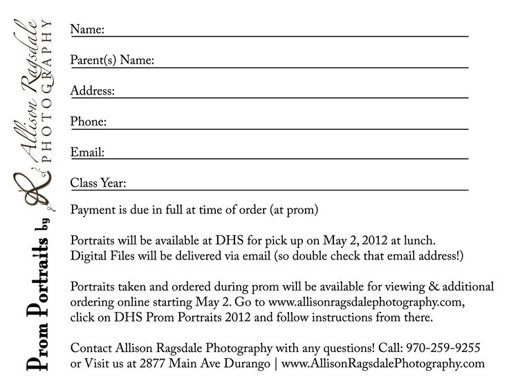 Prom Portrait Order Forms  Ragsdale Photography Has Photographed