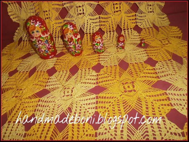 HandmadeBoni: Mały szydełkowy obrus - żółta szachownica. Zrób ra...