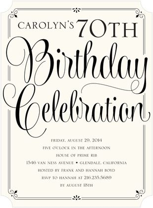 Classy Affair - Adult Birthday Party Invitations - Sarah Hawkins Designs - Black #Birthday
