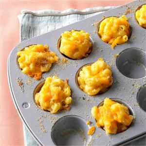 Mini Mac & Cheese Bites Recipe -Young relatives were coming for a Christmas party, so I wanted something fun for them to eat. Instead, the adults devoured my mini mac and cheese. —Katherine Mainiero, Poughkeepsie, NY